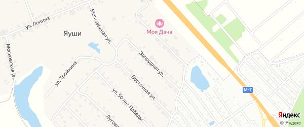 Запрудная улица на карте деревни Яуш с номерами домов