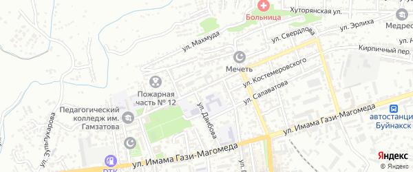 Улица Д.Кумухского на карте Буйнакска с номерами домов