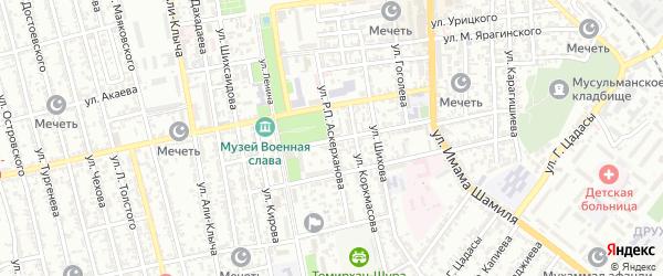 Улица Мирзо Турсун-Заде на карте Буйнакска с номерами домов