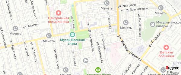 Улица Академика Аскерханова на карте Буйнакска с номерами домов