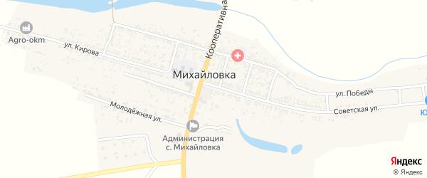 Узенький переулок на карте села Михайловки с номерами домов