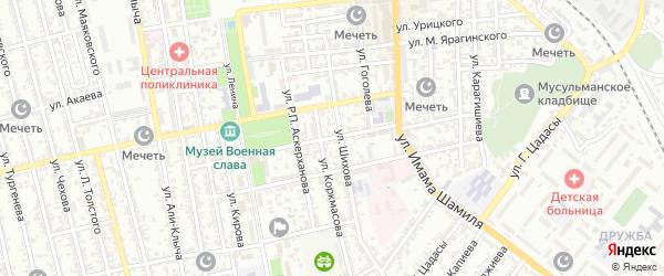 Улица Буйнакского на карте Буйнакска с номерами домов