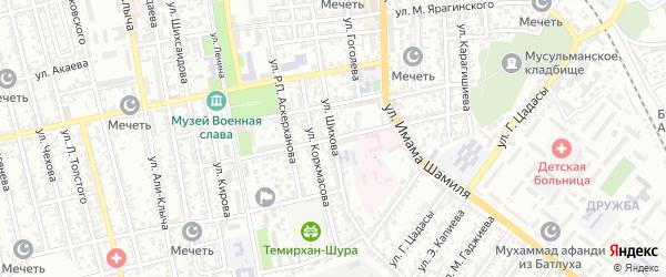 Улица Наби Аминтаева на карте Буйнакска с номерами домов