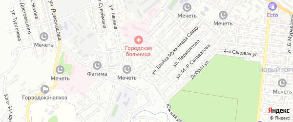 Улица Ассадулы Ханова на карте Буйнакска с номерами домов