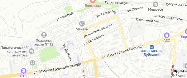 Улица Салаватова на карте Буйнакска с номерами домов