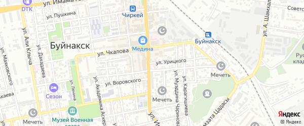 Улица Урицкого на карте Буйнакска с номерами домов