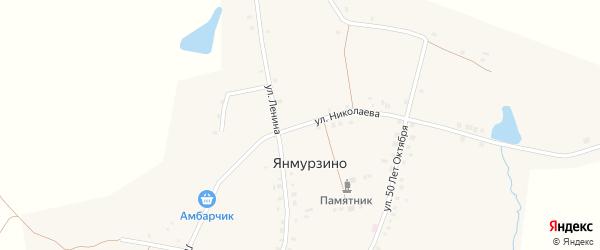 Улица Николаева на карте деревни Янмурзино с номерами домов