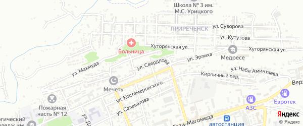 Улица Свердлова на карте Буйнакска с номерами домов