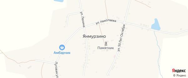 Садовый переулок на карте деревни Янмурзино с номерами домов