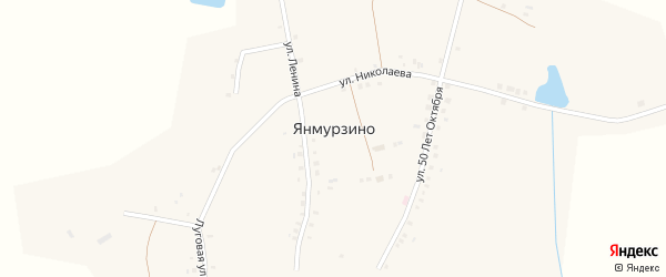 Молодежная улица на карте деревни Янмурзино с номерами домов