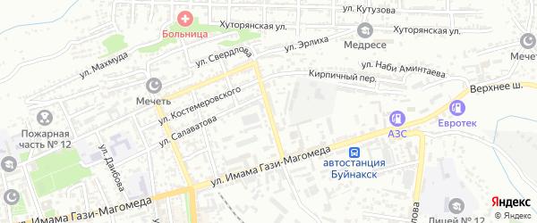 Улица Атаева на карте Буйнакска с номерами домов