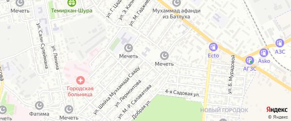 Улица Темирбулата Бийбулатова на карте Буйнакска с номерами домов