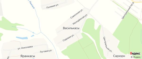 Карта деревни Василькас в Чувашии с улицами и номерами домов