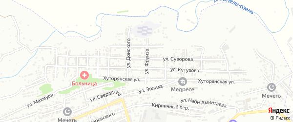 Улица Фрунзе на карте Буйнакска с номерами домов