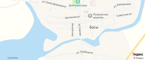 Речной переулок на карте села Басы с номерами домов