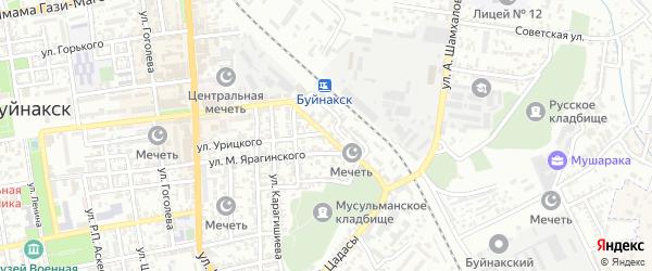 Железнодорожная улица на карте Буйнакска с номерами домов