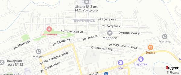 Улица Эрлиха на карте Буйнакска с номерами домов