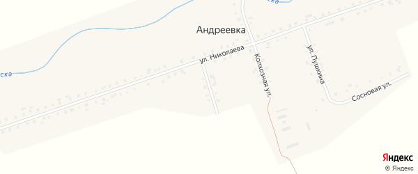 Комсомольская улица на карте деревни Андреевки с номерами домов