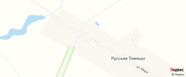 Улица Мира на карте деревни Русские Тимяши с номерами домов
