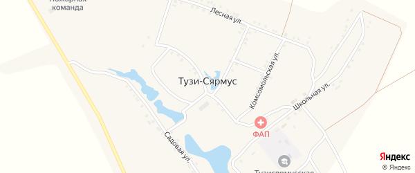 Комсомольская улица на карте деревни Тузи-Сярмус с номерами домов