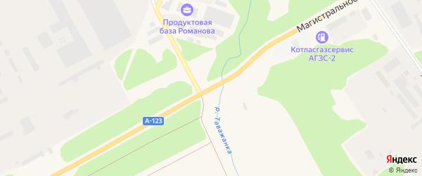Дорога Магистральное шоссе на карте Коряжмы с номерами домов