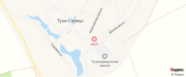 Школьная улица на карте деревни Тузи-Сярмус с номерами домов