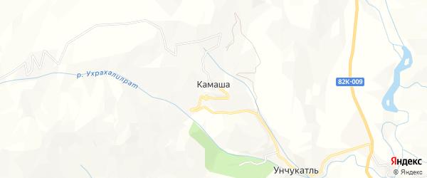 Карта села Камаши в Дагестане с улицами и номерами домов