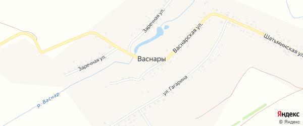 Полевая улица на карте деревни Васнар с номерами домов