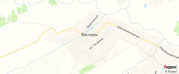 Карта деревни Васнар в Чувашии с улицами и номерами домов