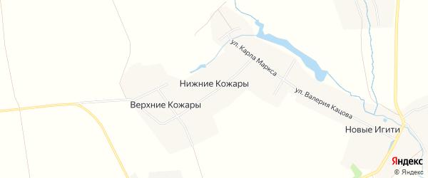 Карта деревни Нижние Кожары в Чувашии с улицами и номерами домов