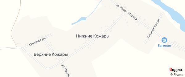 Лесная улица на карте деревни Нижние Кожары с номерами домов