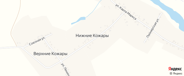 Зеленый переулок на карте деревни Нижние Кожары с номерами домов