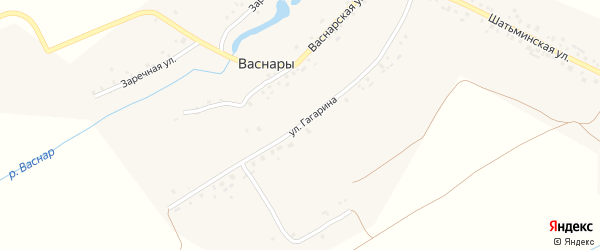 Улица Гагарина на карте деревни Васнар с номерами домов