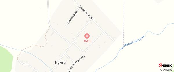 Зеленая улица на карте деревни Рунги с номерами домов