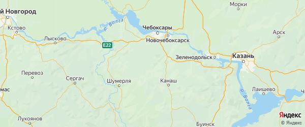 Карта Красноармейского района республики Чувашия с городами и населенными пунктами