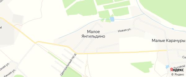 Карта деревни Малое Янгильдино в Чувашии с улицами и номерами домов