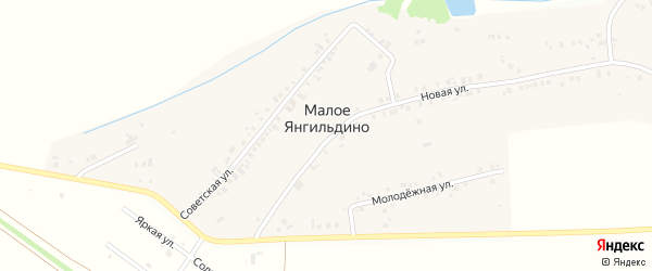 Солнечная улица на карте деревни Малое Янгильдино с номерами домов