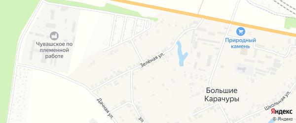 Зеленая улица на карте деревни Большие Карачуры с номерами домов