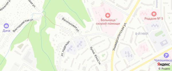Улица Надежды на карте Чебоксар с номерами домов