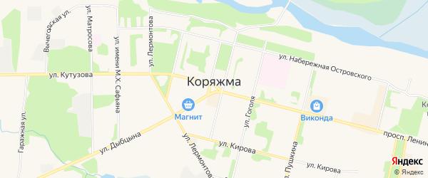 Карта садового некоммерческого товарищества Садоводы Севера сад N6 Колос N1 города Коряжмы в Архангельской области с улицами и номерами домов