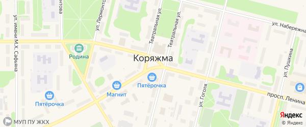 Лазурная улица на карте Коряжмы с номерами домов