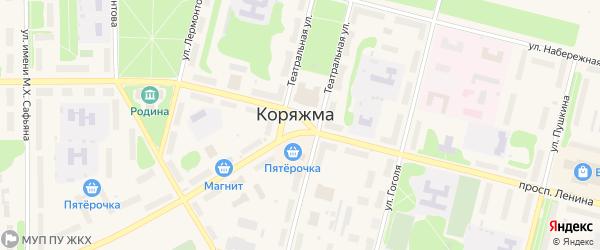 Площадь им В.И.Ленина на карте Коряжмы с номерами домов