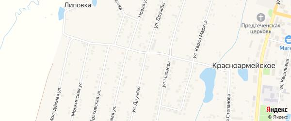 Улица Дружбы на карте Красноармейского села с номерами домов