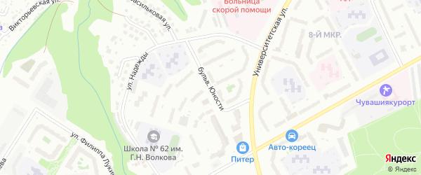 Бульвар Юности на карте Чебоксар с номерами домов