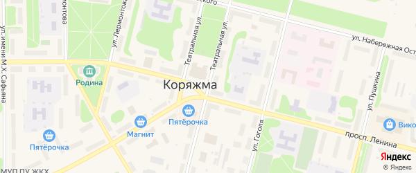 Театральная улица на карте Коряжмы с номерами домов
