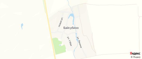 Карта деревни Байсубино в Чувашии с улицами и номерами домов