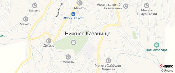 Улица Абдурахмана-Хаджи Ас-Сугури на карте села Нижнего Казанища с номерами домов