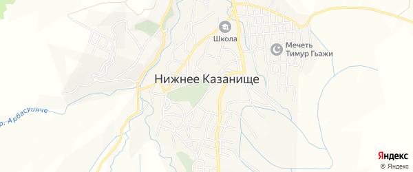 Карта села Нижнего Казанища в Дагестане с улицами и номерами домов