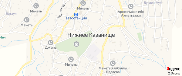 Улица Б.Атаева на карте села Нижнего Казанища с номерами домов