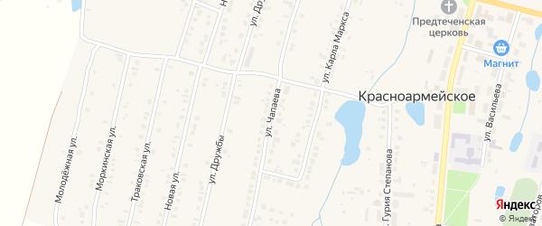 Улица Чапаева на карте Красноармейского села с номерами домов